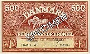 500 Danish Kroner banknote 1944-1946 issue