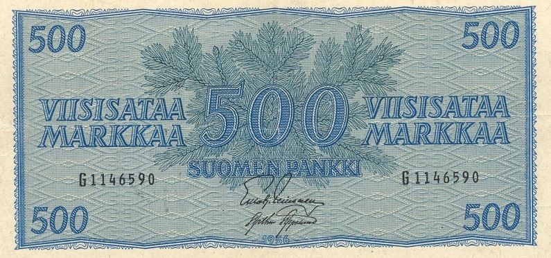 500 Finnish Markkaa banknote - 1945 conifer branch