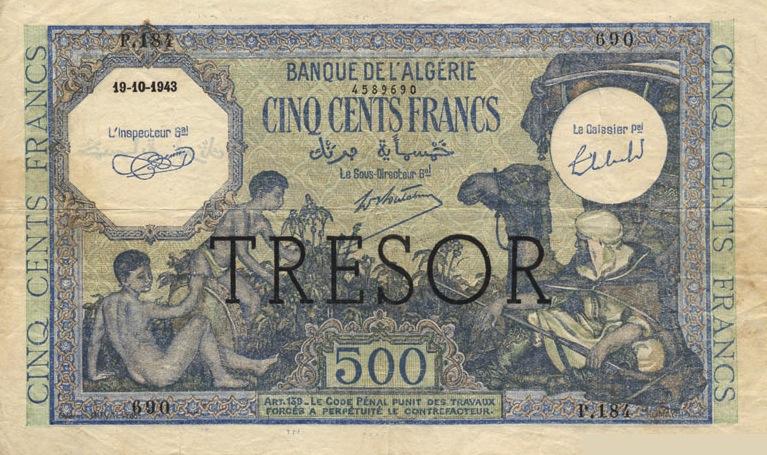500 French Francs banknote - Banque de l'Algerie