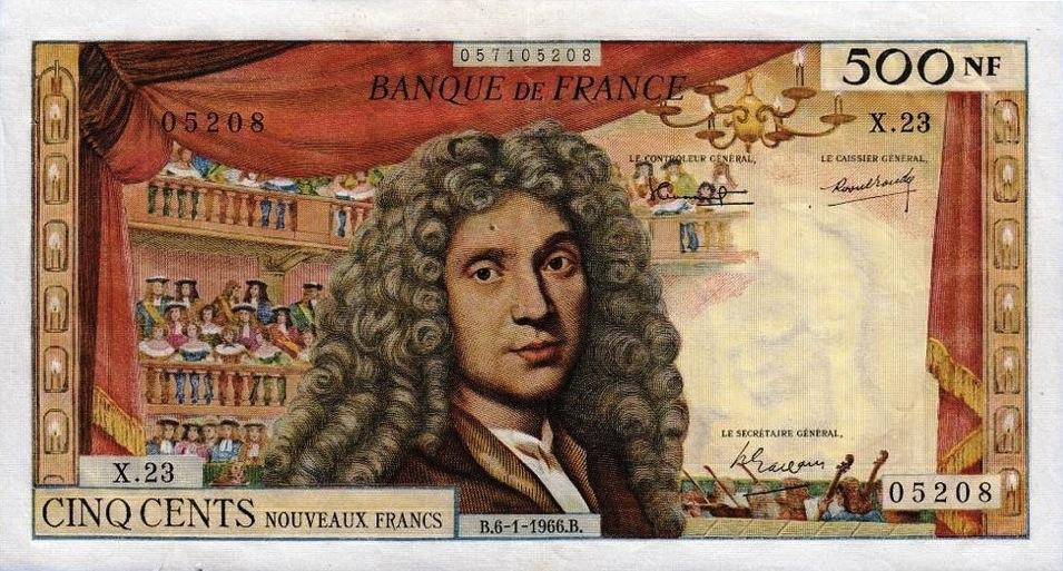 500 French Francs banknote - Molière