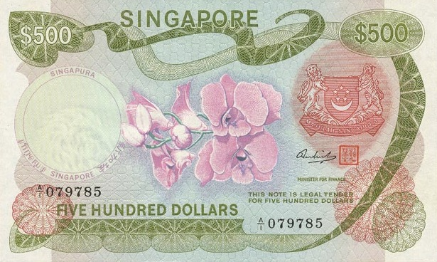 500 Singapore Dollars banknote - Orchids series