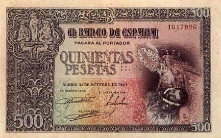 500 Spanish Pesetas banknote - Toledo
