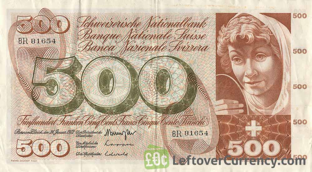 500 Swiss Francs banknote 5th series obverse accepted for exchange