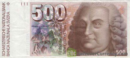 500 Swiss Francs banknote Albrecht von Haller 7th series obverse accepted for exchange