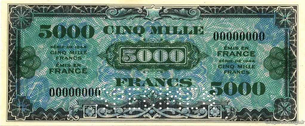 5000 French Francs banknote - Allied Military Currency (1944)