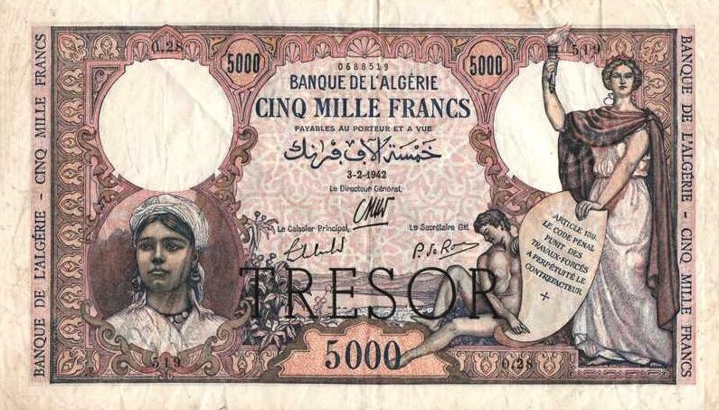 5000 French Francs banknote - Banque de l'Algerie
