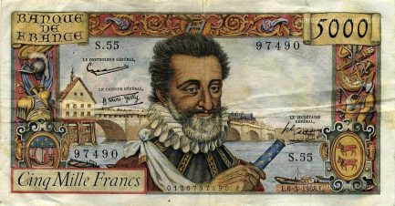 5000 French Francs banknote - Henry IV