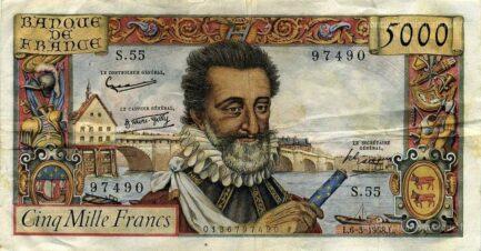 5000 French Francs banknote - Henry IV
