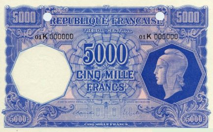 5000 French Francs banknote - Tresor Central type Marianne