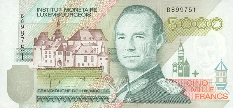 5000 Luxembourgish Francs banknote