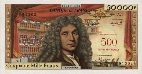 50000 French Francs (500 Nouveaux Francs) banknote - Molière