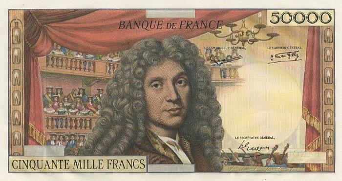50000 French Francs banknote - Molière
