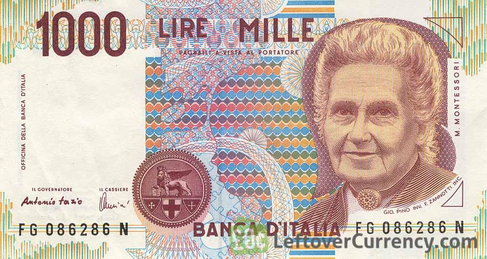 1000 Italian Lire (Maria Montessori) - Exchange yours for cash Italian Money