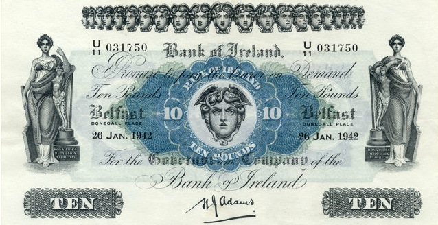 Bank of Ireland 10 Pounds banknote - Hibernia