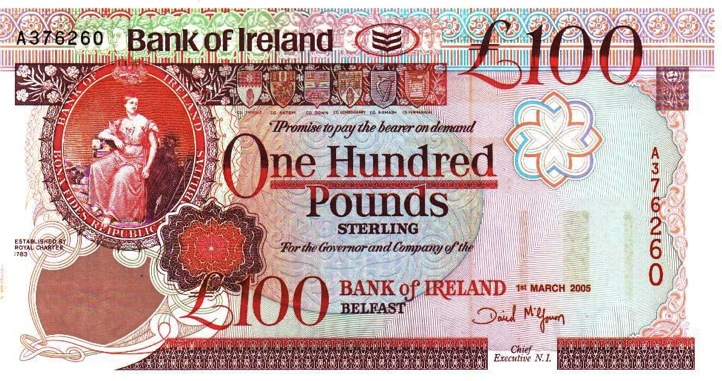 Bank of Ireland 100 Pounds banknote - Queen's University
