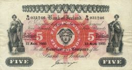 Bank of Ireland 5 Pounds banknote - Hibernia