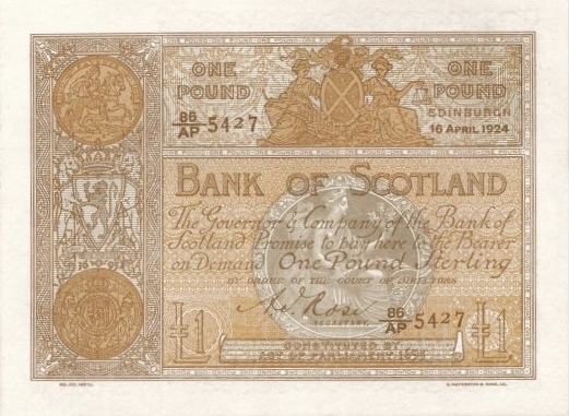 Bank of Scotland 1 Pound banknote - 1894-1920 series