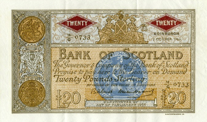 Bank of Scotland 20 Pounds banknote - 1955-1969 series