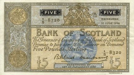 Bank of Scotland 5 Pounds banknote - 1961-1967 series
