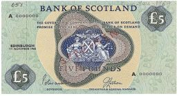 Bank of Scotland 5 Pounds banknote - 1968-1969 series