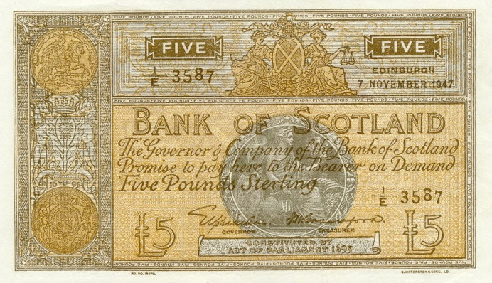 Bank of Scotland 5 Pouns banknote - 1935-1953 series
