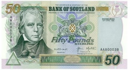 Bank of Scotland 50 Pounds banknote - 1995-2006 series