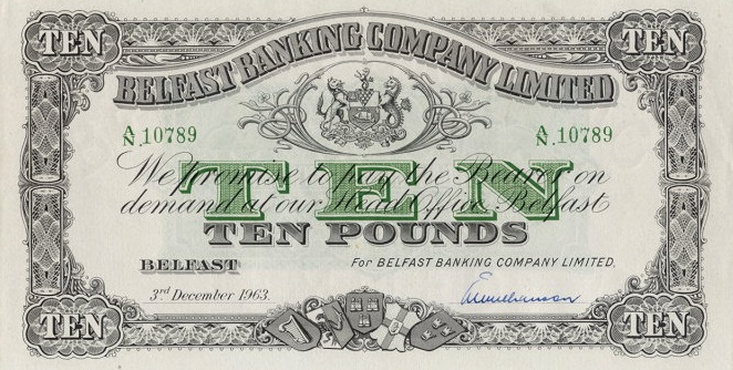 Belfast Banking Company 10 Pounds banknote