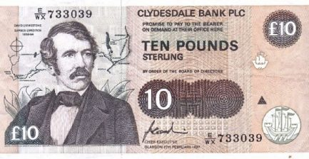 Clydesdale Bank 10 Pounds banknote - 1988-1997 series
