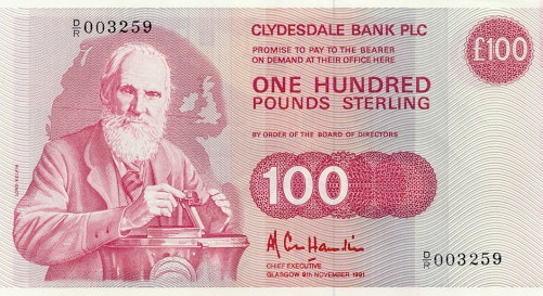 Clydesdale Bank 100 Pounds banknote - 1985-1991 series