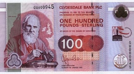 Clydesdale Bank 100 Pounds banknote - 1996-2001 series