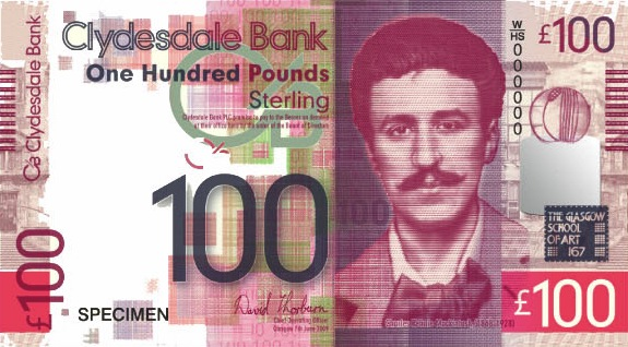 Clydesdale Bank 100 Pounds banknote