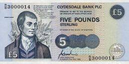 Clydesdale Bank 5 Pounds banknote - 1990-2002 series