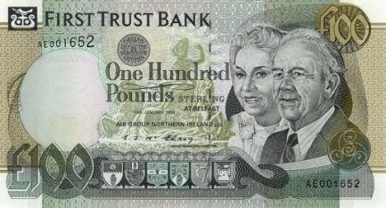 First Trust Bank 100 Pounds banknote - Mature man and woman