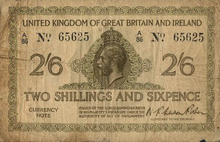HM Treasury 2 Shillings and Sixpence banknote - King George V