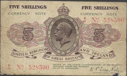 HM Treasury 5 Shillings banknote - King George V
