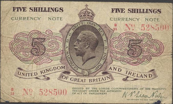 HM Treasury 5 Shillings banknote - King George V