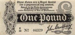 HM Treasury One Pound banknote - King George V black white