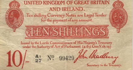 HM Treasury One Pound banknote - King George V black