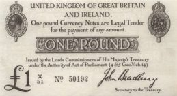 HM Treasury Ten Shillings banknote- King George V red