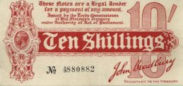 HM Treasury Ten Shillings banknote- King George V red white
