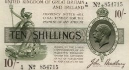 HM Treasury Ten Shillings banknote - St George and dragon