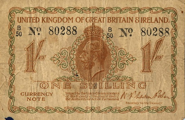 HM Treasy One Shilling banknote - King George V