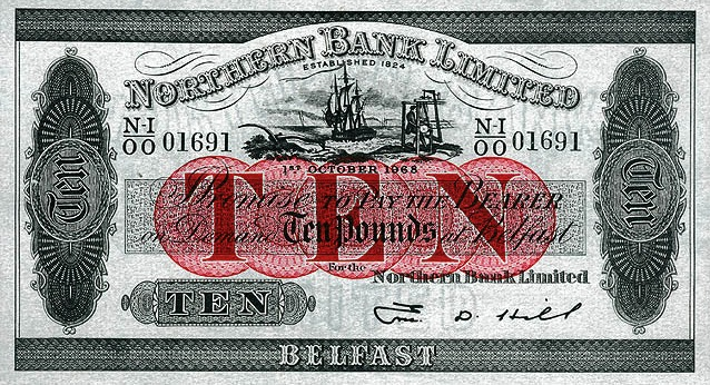 Northern Bank 10 Pounds banknote - series 1920-1968