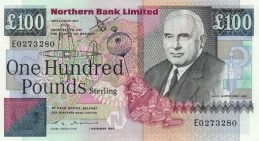 Northern Bank 100 Pounds banknote - series 1990