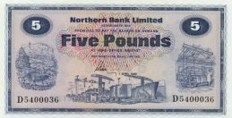 Northern Bank 5 Pounds banknote - series 1970-1986
