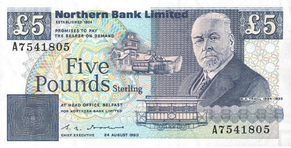 Northern Bank 5 Pounds banknote - series 1988-1990