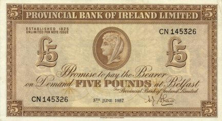 Provincial Bank of Ireland Limited 1 Pound banknote - Bank building