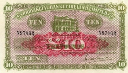 Provincial Bank of Ireland Limited 10 Pounds banknote - Britannia and Hibernia