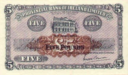Provincial Bank of Ireland Limited 5 Pounds banknote - Britannia and Hibernia