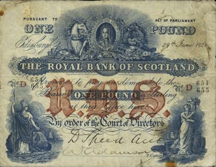 The Royal Bank of Scotland 1 Pound banknote - 1888-1926 series